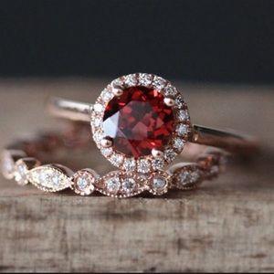 Red Rose Gold Ring Set
